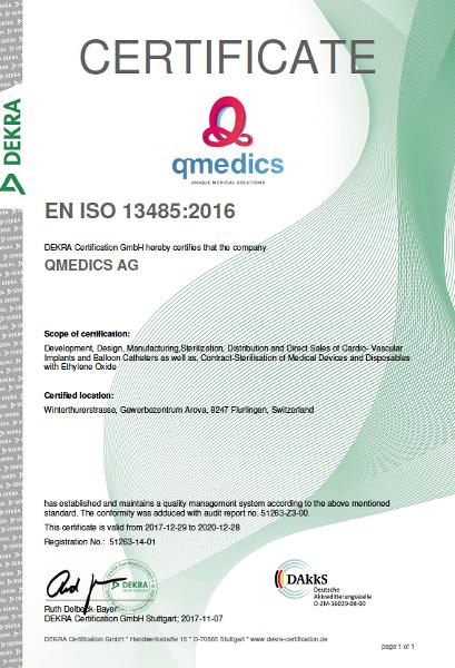 Qmedics receives DIN EN ISO 13485:2016 Certificate